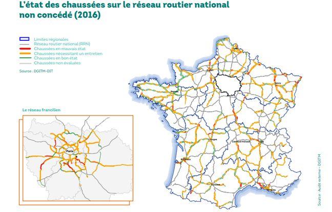 Voici la carte des routes plus ou moins bien entretenues, dévoilée par l'audit demandé par le gouvernement français.