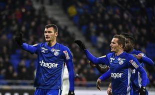Ludovic Ajorque célèbre son ouverture du score sur penalty, mardi soir au Parc OL.