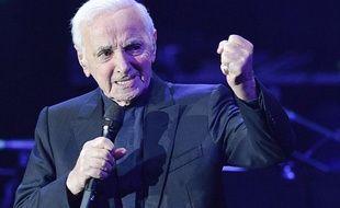 Charles Aznavour en concert à Prague, le 16 mars 2018.