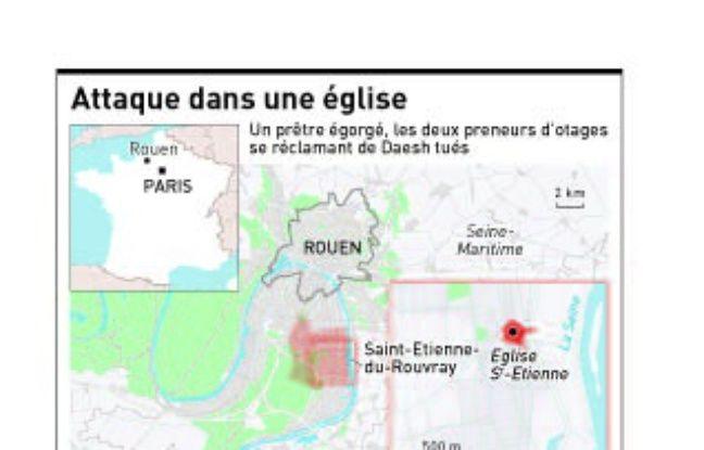 Un prêtre a été tué lors d'une prise d'otages dans une église à Saint-Etienne-du-Rouvray (Seine-Maritime).
