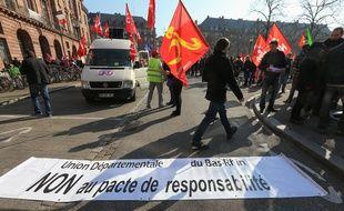 Strasbourg le 9 avril 2015. Manifestation interprofessionnelle dans les rues de Strasbourg.