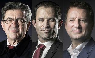 Jean-Luc Melenchon,Benoit Hamon et Yannick Jadot.  JOEL SAGET