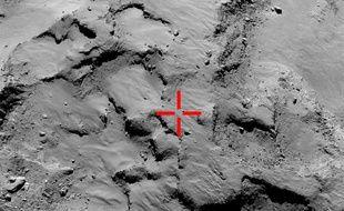 Photo montrant le premier point d'impact où le robot Philae s'est posé sur la comète Choury.
