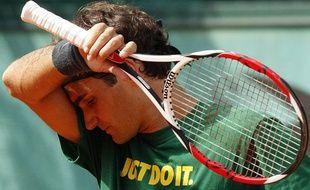 Roger Federer à l'entraînement, le 24 mai 2009 à Roland-Garros.