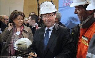 François Hollande et Martine Aubry en visite sur le site de Gandrange, mardi 17 janvier 2012