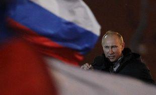 Vladimir Poutine célèbre sa victoire à la présidentielle, à Moscou, le 4 mars 2012.