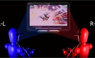 Ce moniteur 3D de Sony permet à deux joueurs de voir deux images simultanées différentes grâce aux lunettes actives.