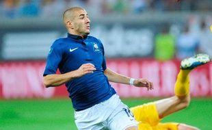 Karim Benzema lors du match qualificatif pour l'Euro 2012 contre la Roumanie à Bucarest, le 6 septembre 2011.