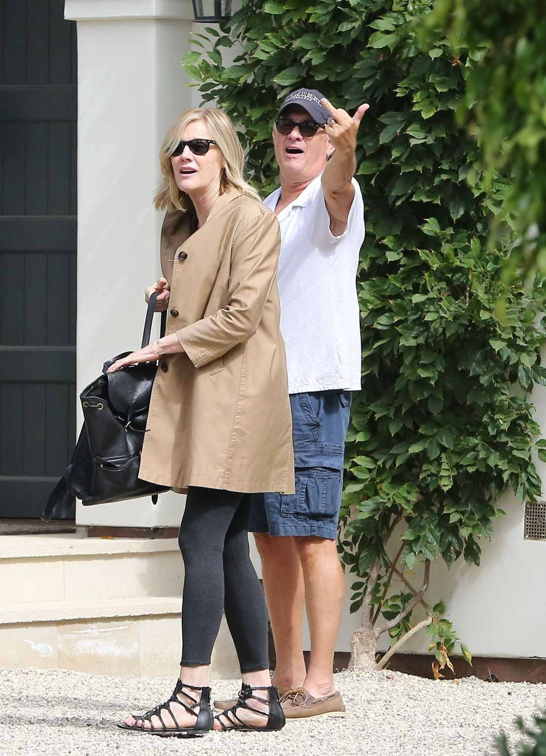 Sunday, September 9, 2018 - Tom Hanks goes casual in a polo t-shirt and cargo shorts as he steps out for a double date with wife Rita Wilson and another couple in Santa Monica, CA. Wilson is striking in a black lace minidress.