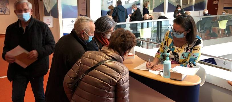 L'accueil du centre de vaccination de l'hôpital privé Confluent, à Nantes.
