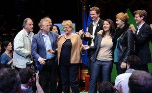 Eva Joly, lors de son dernier meeting de campagne, le 18 avril 2012, à Paris.