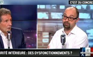Thomas Guénolé (à dr.), face à Jean-Jacques Bourdin, dans «Bourdin Direct», en novembre 2015.