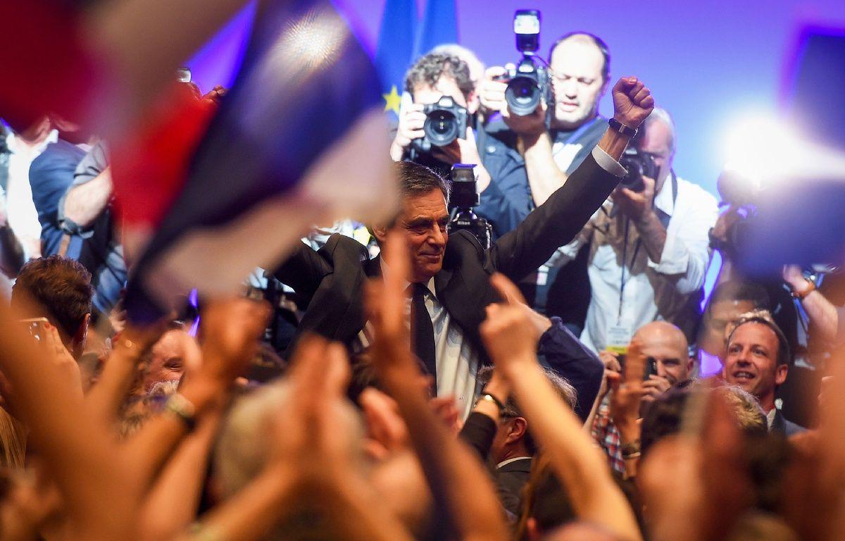 François Fillon lors de son meeting à Toulouse, le 13 avril 2017. – AFP