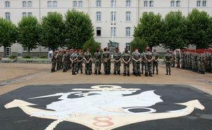 Des soldats du 8e Régiment parachutiste d'infanterie de marine (RPIMa), dans leur caserne, à Castres. Illustration.