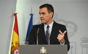 Le Premier ministre Pedro Sanchez lors d'une conférence de presse le 11 décembre à la Moncloa.