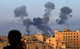 Des tirs israéliens visant la bande de Gaza, le 11 mai 2021.