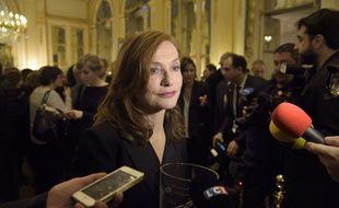 Isabelle Hupert le 16 janvier 2017 au ministère de la Culture à Paris.