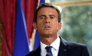 Le Premier ministre Manuel Valls à Matignon après une rencontre avec le président de la FNSEA, le 3 septembre 2015