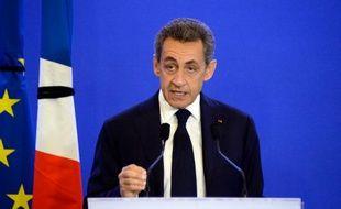 L'ancien président Nicolas Sarkozy lors de son discours au siège des Républicains, le 14 novembre 2015 à Paris