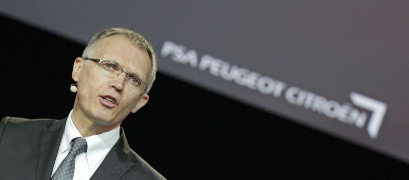Carlos Tavares, président du directoire de PSA Peugeot Citroën lors du lancement de deux nouveaux utilitaires Près de Valenciennes, dans le Nord.