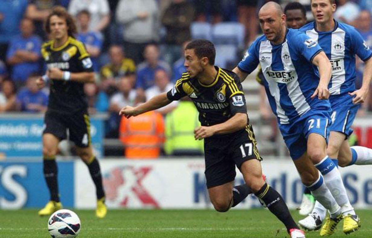 Eden Hazard, lors de son premier match de Premier League avec Chelsea, le 19 août 2012 à Wigan (Angleterre).  – Rex/SIPA
