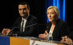 Florian Philippot, vice-président du FN, et Marine Le Pen, présidente du FN, le 9 mars 2015 à Metz.