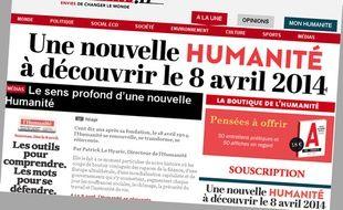 Capture d'écran du site Internet du journal «L'Humanité».