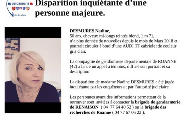 Un appel à témoins a été lancé par la gendarmerie de la Loire pour retrouver une femme de 56 ans disparue depuis mars 2018.
