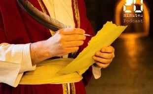 Illustration d'une personne en costume tenant un papier et une plume