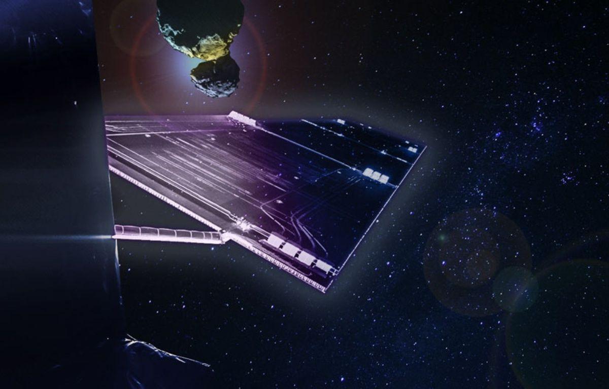 Photomontage de la sonde spatiale Rosetta et de la comète Churyumov-Gerasimenko. – CNES / ESA / MAUREEN CROS / 20 MINUTES