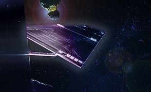Photomontage de la sonde spatiale Rosetta et de la comète Churyumov-Gerasimenko.