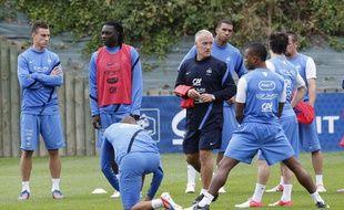 L'équipe de France prépare sa rencontre face à la Finlande, à Clairefontaine, le 5 septembre 2012.