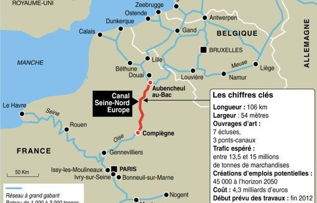 Tracé et chiffres clés du projet de canal Seine-Nord Europe (2012)