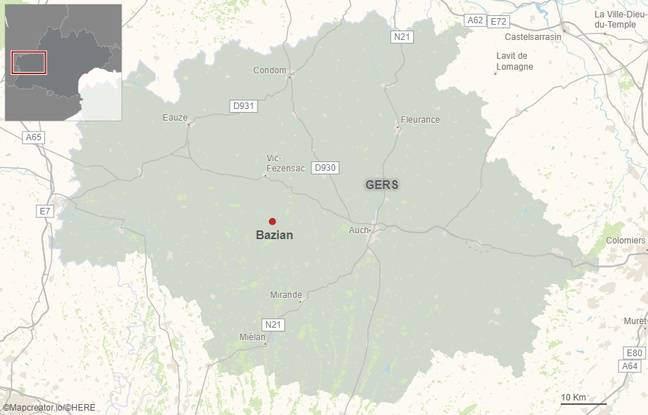 L'accident s'est produit sur la commune de Bazian, dans le Gers.
