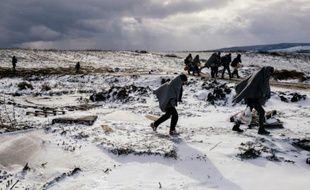 Des migrants traversent des champs enneigés après avoir traversé la frontière macédonienne avec la Serbie, près du village de Miratovac, le 18 janvier 2016