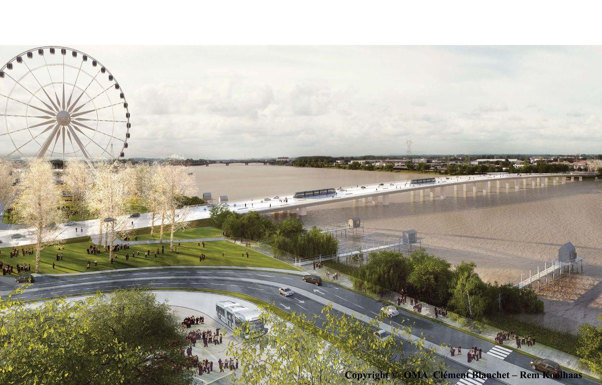 Vue du futur pont Jean-Jacques Bosc à Bordeaux, côté rive droite – OMA Clément Blanchet/Rem Khoolaas