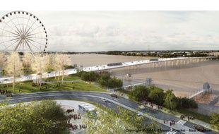 Vue du futur pont Jean-Jacques Bosc à Bordeaux, côté rive droite
