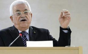 Le président palestinien Mahmoud Abbas à Geneve le 28 octobre 2015
