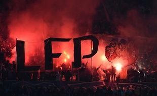 L'un des nombreux tifos déployés au Vélodrome contre la LFP, lors de OM-Bordeaux, le 18 février 2018.