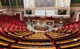 L'hémicycle de l'Assemblée nationale, vide, à Paris. (archives)