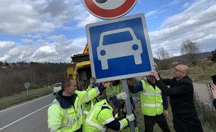 Rétablissement du 90 Km/h sur la RD 1420 à hauteur de Heligenberg (Bas-Rhin) le 4 mars 2020.