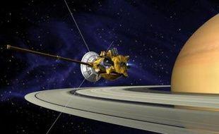 La sonde Cassini autour de Saturne (image de synthèse).