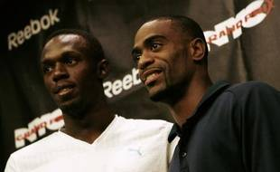 Usain Bolt (gauche) et Tyson Gay droite) à New-York le 29 mai 2008