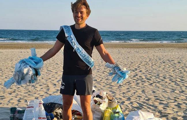 Clément Chapel, lors son premier record du monde officieux, avait ramené 39 kg de déchets, après avoir parcouru 55,9 km de course en 9h45.