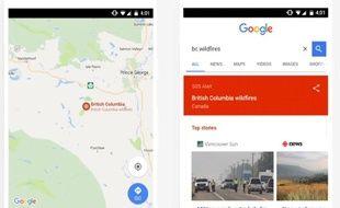 Vue de la nouvelle fonctionnalité «SOS Alert» de Google sur mobile.
