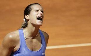 La joueuse de tennis française Amélie Mauresmo, lors de son match à Madrid contre Caroline Wozniacki, le 16 mai 2009.