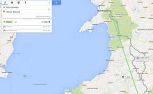 Capture d'écran montrant l'option «trajet en dragon» sur Google Maps le 4 juin 2014.