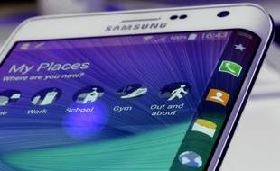 L'écran incurvé du Samsung Galaxy Note Edge, présenté à Berlin le 3 septembre 2014.
