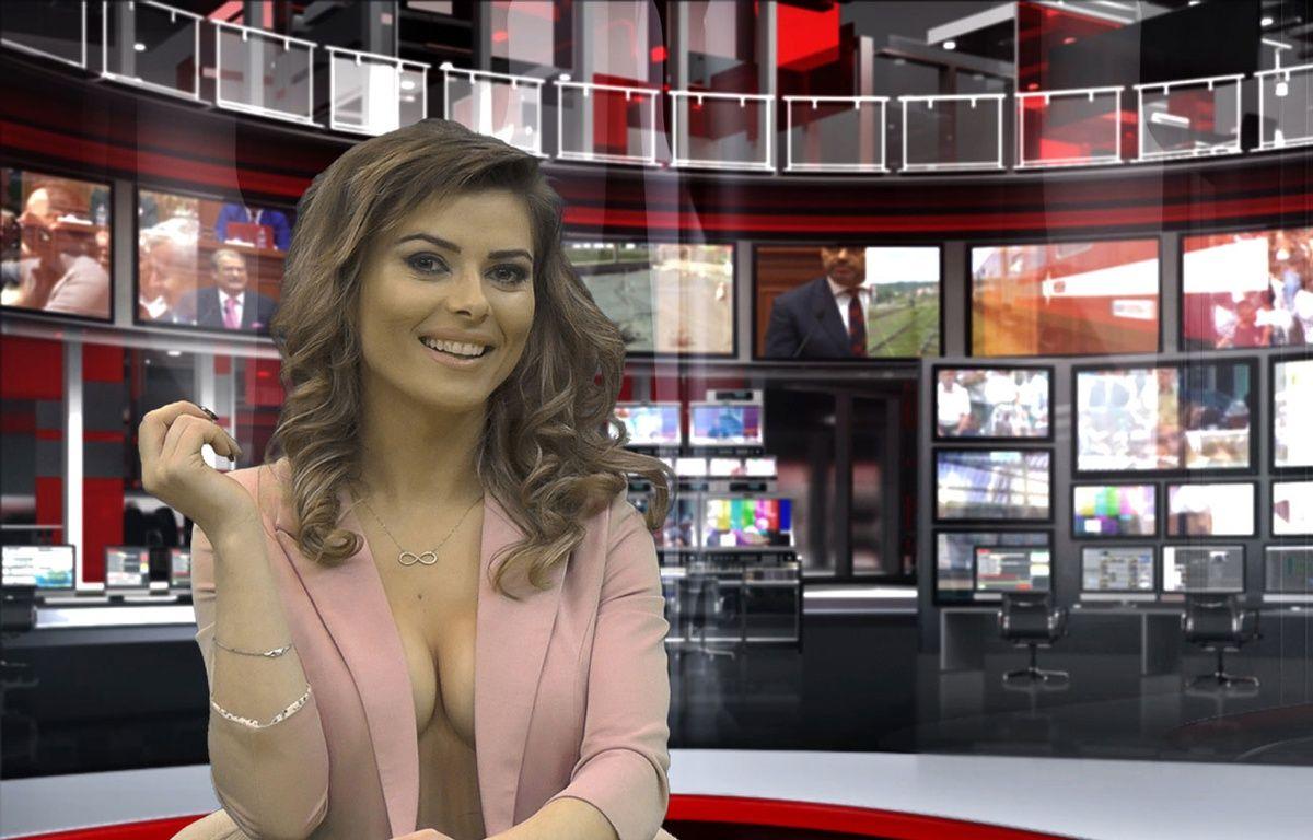 Greta Hoxhaj, 24 ans, présente un JT sur la chaîne Zjarr TV à Tirana, en Albanie, le 14 janvier 2016. – STRINGER / AFP
