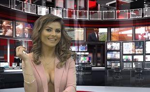 Greta Hoxhaj, 24 ans, présente un JT sur la chaîne Zjarr TV à Tirana, en Albanie, le 14 janvier 2016.